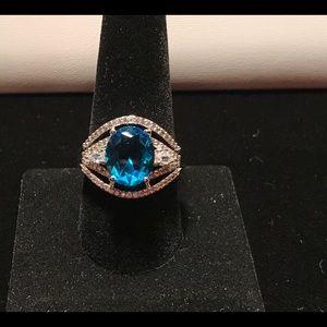 925 Silver Oval Cut Aquamarine Ring Size 10